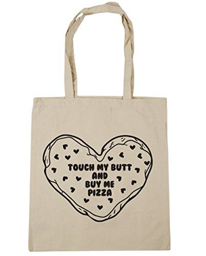 Valentine Herty Touch my butt and buy me Pizza-Tragetasche für Einkauf, Fitnessstudio, Strandtasche, 42 x 38 cm