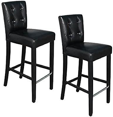 Tabouret Effet Chaises Cuir Noir Lot Lounge Style De Bar Haut 2 rCshxtQd