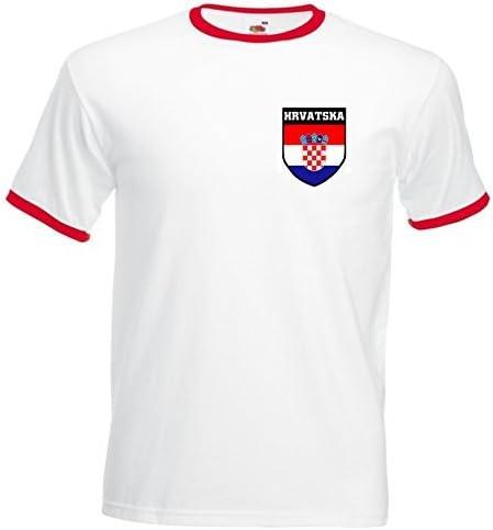 Maglietta con stemma di calcio Croazia Croazia Croato Hrvatska Calcio