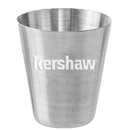 Kershaw Stainless Steel Shot Glass 1 fl oz Features Striking Logo Etched into Center Great Owners and Enthusiasts Versatile and Durable Shot Glass for Home or Recreation Use