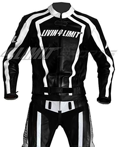 4LIMIT Sports Motorrad Lederkombi LAGUNA SECA Zweiteiler, schwarz-weiß, Größe XL