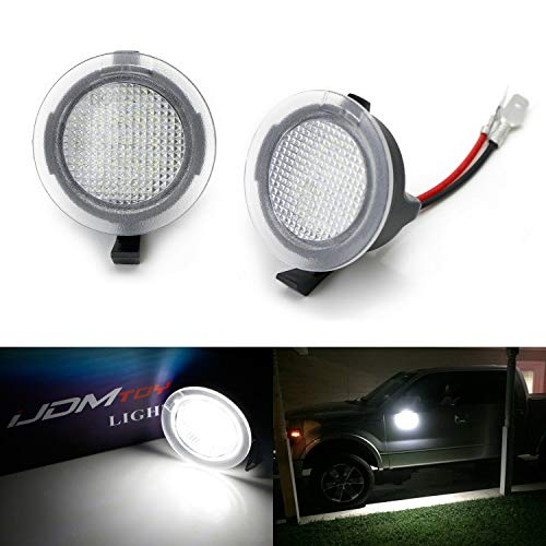 iJDMTOY White LED Under Side Mirror Puddle Lights Compatible with Ford F150 Raptor Edge Explorer Flex, Lincoln Navigator Mark LT MKX etc. (Powered by 18 pcs White SMD LED Lights)