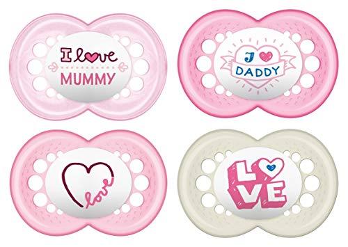 MAM Schnuller Original Silikon 6-16 Monate I Love Mummy & Daddy, 4 Stück, für Mädchen