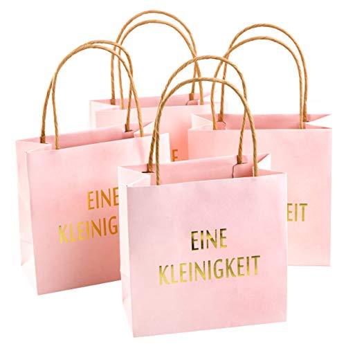 Logbuch-Verlag 4 kleine rosa goldene Papiertaschen Geschenktüten EINE KLEINIGKEIT m. Henkel – Weihnachten Baby Party Geburtstag Kommunion Mädchen Geschenkbeutel