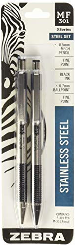 Zebra M/F 301 Stainless Steel Mechanical Pencil and Ballpoint Pen Set, Fine Point, 0.5mm HB Lead Pencil and 0.7mm Black Ink Pen, 2-Count