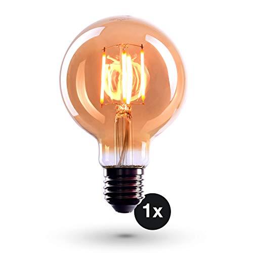 CROWN LED Edison Glühbirne E27 Fassung, Dimmbar, 4W, Warmweiß, 230V, EL04, Antike Filament Beleuchtung im Retro Vintage Look