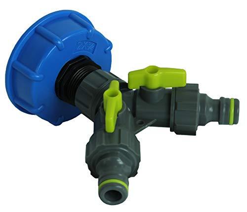 GASMIS IBC Adapter mit 2-Wege-Ventil S60x6 3/4 x Quick Connector (Hahnanschlussstück) - Flügelgriff, 2-Wege-Verteiler, Wasserdurchfluss regulier und absperrbar, für IBC Regentonne, 1 Stück, Blau