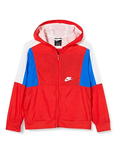 Nike Jungen B NSW Woven FZ Long Sleeved T-Shirt, University red/White/Game royal/(White), XS