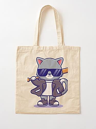 Générique Tough Animals Bat Jacket Leather Hard Baseball Cat Cool   Bolsas de lona con asas de algodón duradero