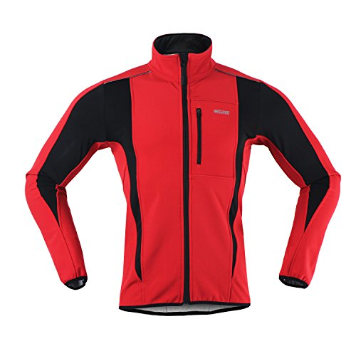 M.Baxter Fahrrad Trikot Winter Herbst Fahrradbekleidung Wasserdicht Winddicht Atmungsaktiv Warm Fleece Jacke (Rote, M)