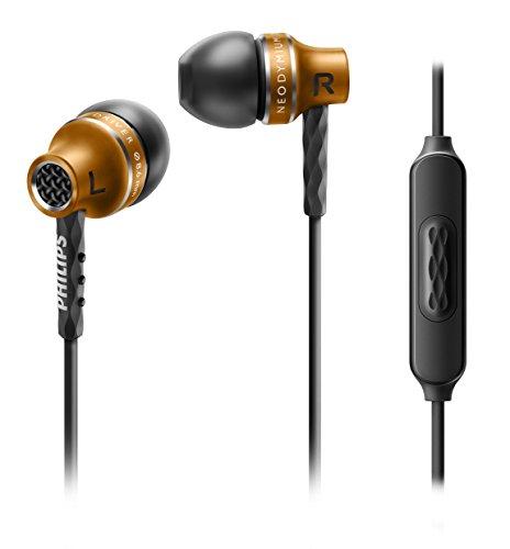 Philips SHE9105BS/00 In-Ear Kopfhörer mit Mikrofon (8,6 mm Treiber, halb geschlossenes System, Metallgehäuse) kupfer