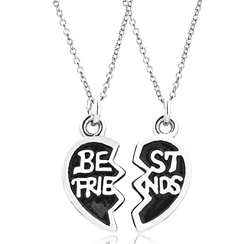 Korliya Best Friends Matching Heart Love Charm Pendant Necklace Set for 2...