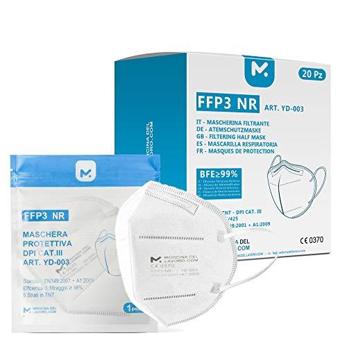 20 FFP3 Mund- und Nasenschutz Maske mit EC Zertifizierung, 5 Lagige Maske ohne Ventil, Staub- und Partikelschutzmaske, medizinische Schutzmaske mit hoher BFE-Filtereffizienz ≥ 98, 20 Atemschutzmaske