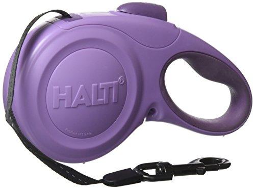 HALTI Roll-Leine, Gurt 5m mit reflektierendem Streifen und ergonomischem Gelgefühl Griff, für Hunde bis maximum 49 kg, Groß, lila