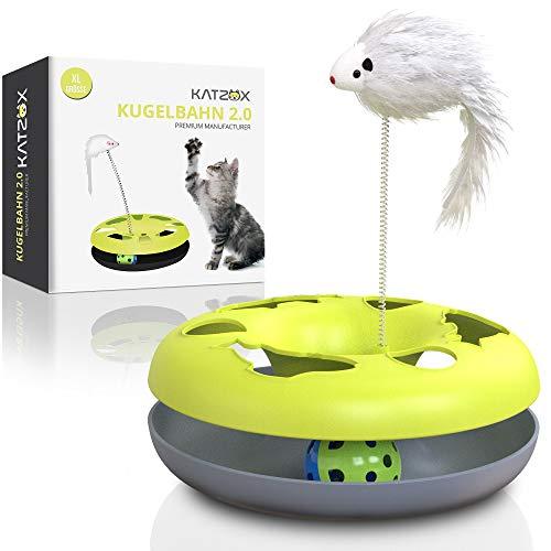 KATZOX© Premium Katzenspielzeug Kugelbahn - Verbessertes Konzept 2020 - Interaktives Katzen Spielezeug Zubehör - Katze Spielzeug Beschäftigung Kitten Cat Toy - Spiel Ball Glöckchen Maus Spielschiene