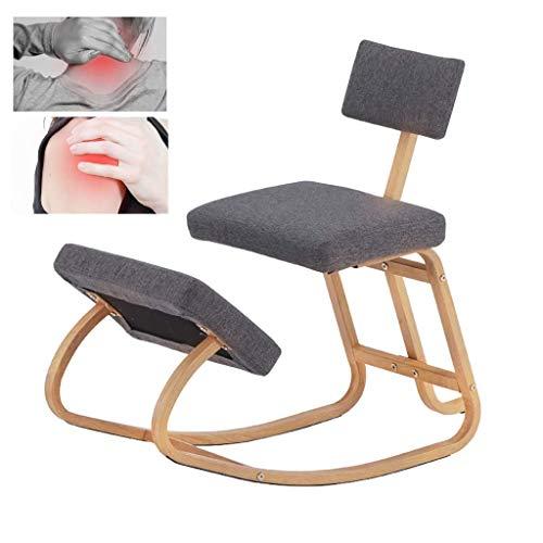 LEILEI Kneeling Chairs,with Seat Position Correct Anti-Myopia Posture Kneeling Ergonomic Chair Back Stool Knee Rocking,Best Gift,Gray