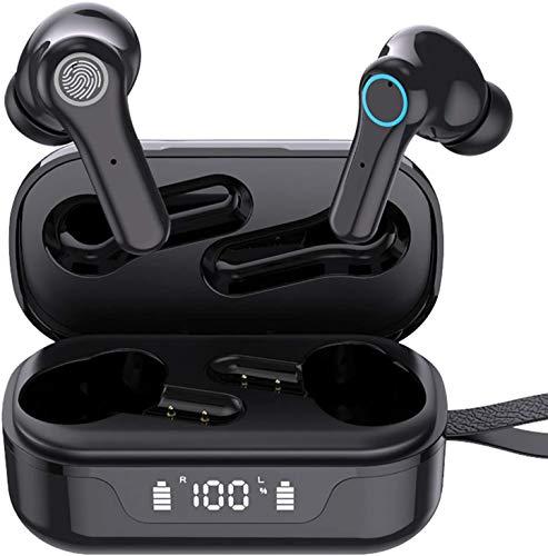 Bluetooth Kopfhörer in Ear, Kabellos Bluetooth 5.0 Running Headset Noise Cancelling Deep Bass IPX7 Wassersdicht Wireless Earbuds USB-C Quick Charge 25 Std. Laufzeit Ohrhörer mit Mikrofon