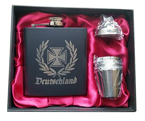 Lokis Truhe Flachmann 6 - teilig aus Edelstahl mit eleganter eisernes Kreuz im Ährenkranz mit schwarzer Geschenk Box und rotem Satin Stoff