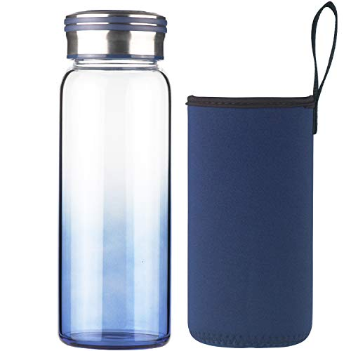 Cleesmil Botella de Agua de Cristal 1000 ml / 1 litro Botella de Agua de Vidrio Deportiva con Funda de Neopreno sin BPA (Azul)