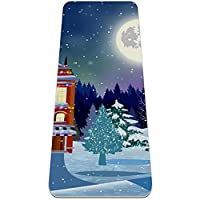 厚手のヨガマット6mmフィットネス&エクササイズマット(72 'L x 24' W x 1/4インチ)、クリスマスツリーサンタクロースギフトバッグ