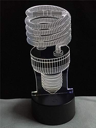 3D LED Hot Energy Saving Spiral 7 Color degradado Luz nocturna Usb Touch Mesa Escritorio Noche Holiday Lámpara Infantil Juguetes Niños Regalos