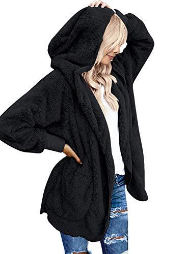 Roskiky Übergroße drapierte Damen Strickjacke mit Kapuze und Taschen, offene Vorderseite Schwarz Small