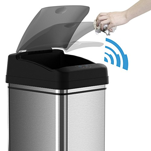 iTouchless 13 Gallon Sensor Trash Can Battery-Free Automatic Bin with Odor Filter, for Kitchen and Office, Black and Stainless Steel, 1 Ac Adapter