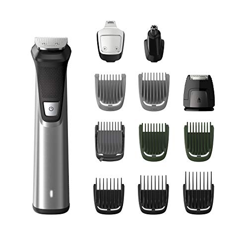 Philips MULTIGROOM Series 7000 MG7735/15 cortadora de pelo y maquinilla Gris Recargable - Afeitadora (Gris, Rectángulo, 3 mm, 7 mm, Barba, Oído, Nariz, Acero inoxidable)