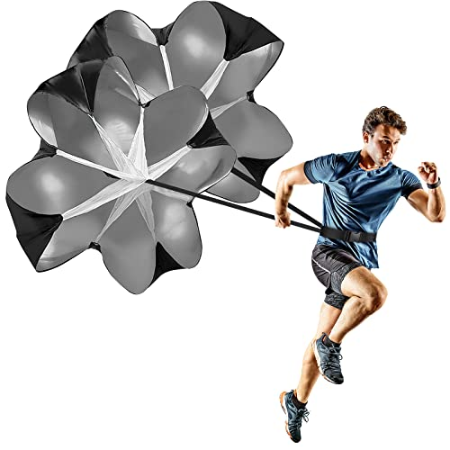 GIEMIT Running Speed Parachute,2 Umbrella Speed Resistance Parachute with Adjustable Strap Black Training Parachute for Runner Speed Training and Acceleration Training
