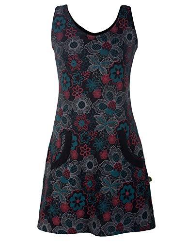 Vishes - Alternative Bekleidung - Ärmelloses Blumenkleid mit Taschen aus Baumwolle Bedruckt und Bestickt schwarz 42-44
