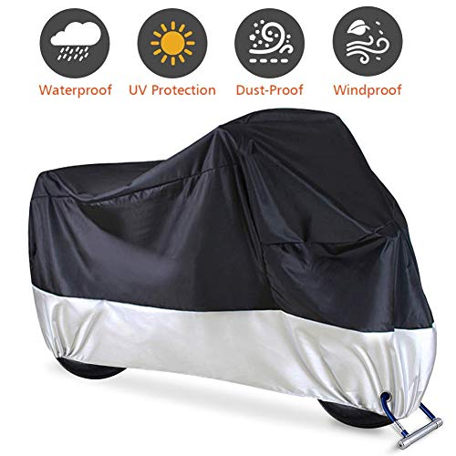 Motorcycle Cover, Waterproof Motorcycle Cover All Weather Outdoor Protection,Oxford Durable & Tear Proof, Fit for length 87' Motors
