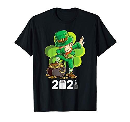 St-Patricks Day Dabbing Leprechaun Boys Kids Men Gifts 2021 T-Shirt