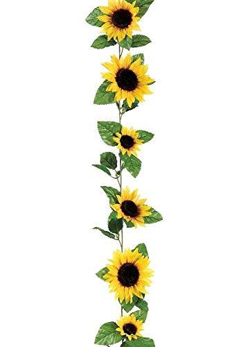 Hinter Blumengirlande, Sonnenblumen, Seide, ca. 1,8 m, 11 Blumen, 7,6 cm Durchmesser, Gelb