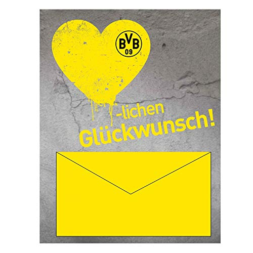 Borussia Dortmund Geldscheinkarte, Glückwunschkarte, Geburtstagskarte, Karte BVB 09 - Plus Lesezeichen I Love Dortmund