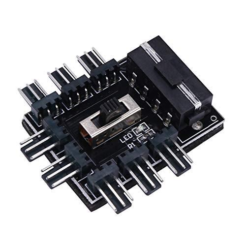 Gfhrisyty PC 1 a 8 4Pin Molex refrigerador ventilador de refrigeración Hub Splitter Cable PWM 3Pin Fuente de alimentación controlador de velocidad para PC minería
