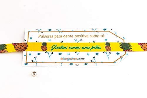 Tarja 73 | Pulseras De Tela Con frases molonas: JUNTAS COMO UNA PIÑA | Regalo Original | Ideal Para Bodas, Aniversarios, Fiestas | Calidad HD