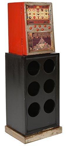 ts-ideen Botellero Botellas de Vino Diseño Retro Surtidor de Gasolina Rojo y Negro 80 x 27 cm