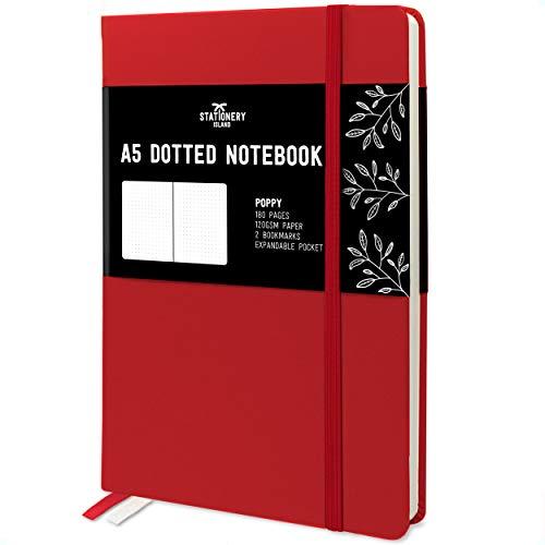 Stationery Island Cuaderno Punteado A5 – Amapola. Bullet Journal de Tapa Dura Con 180 Páginas y Papel Premium de 120gsm