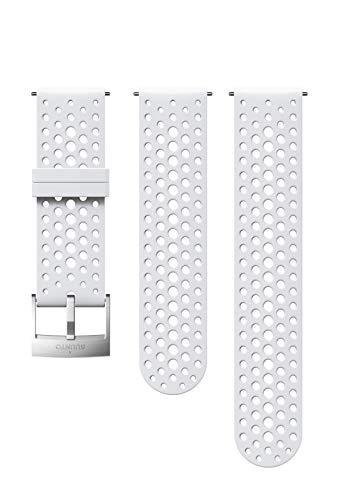 Suunto Bracelet de remplacement Original pour Montres Suunto Spartan Sport WRH, Suunto 9, Silicone, Longueur : 22,9 cm, Largeur : 24 mm, Blanc/Argent, avec Broches de fixation, SS050224000