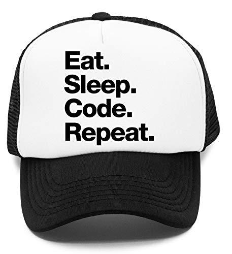 Eat Sleep Code Repeat Kinder Kappe Baseball Rapper Cap