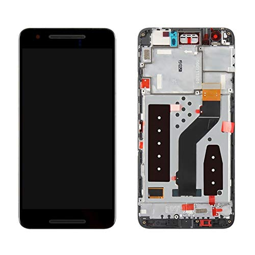 Pantallas LCD para teléfonos móviles Pantalla LCD Pantalla táctil digitalizador/Ajuste para Piezas de reemplazo de Pantalla 6P Huawei Nexus 6P (Color : Black with Frame)