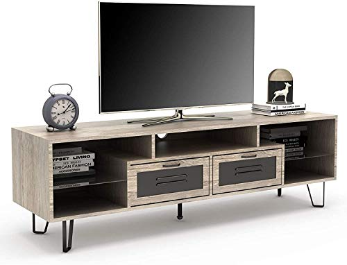Mecor TV Stand Mid Century Modern TV Stand Entertainment Center for TV's up to 60', TV Cabinet Table with 2 Drawers and Glass Shelves for Living Room Bedroom, Television Stands with V Style Metal Leg