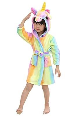 JOXJOZ Kids Unicorn Hooded Bathrobes Flannel Robe Pajamas Animal Costume Sleepwear for Girls and Boys