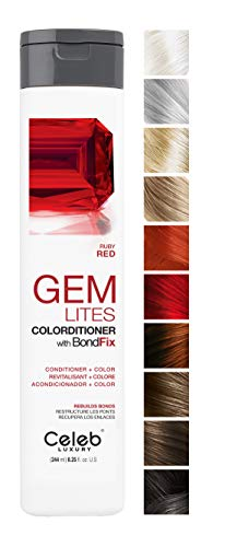 Celeb Luxury Gem Lites Colorditioner: Ruby Red Hair Color Depositing Conditioner, BondFix Bond Rebuilder, 10 Traditional Colors, Stops Fade. Condition + Color, Cruelty-Free, 100% Vegan