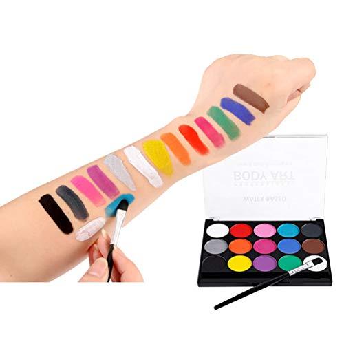 Kagodri Body-Painting-Farbe, 15 Farben, Halloween-Malerei, Spielzeug, waschbar und sicher, geeignet für Halloween-Partys und Urlaubspartys.