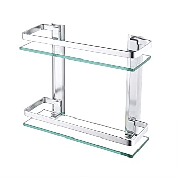 Foto di KES - Mensola da bagno in vetro temperato extra spesso, rettangolare, con barra in alluminio, mensola da doccia in stile contemporaneo, Alluminio, Argento, 2-Tier