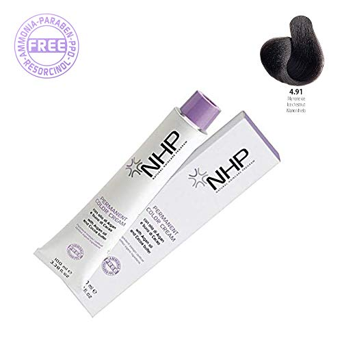 NHP Permanent Color Cream | 4,91 marrón Ice| con aceite de argán mantequilla de cacao | Ingredientes biológicos certificados 100 ml