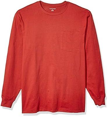 Amazon Essentials Men's Long-Sleeve Heavyweight Workwear Pocket T-Shirt, Red, XX-Large