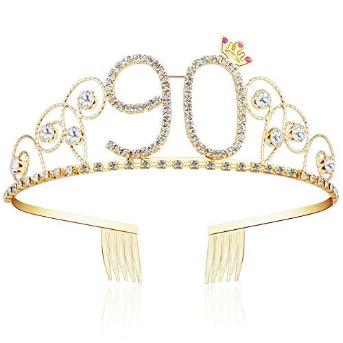 ArtiDeco Kristall Geburtstag Tiara Gold Birthday Crown Prinzessin Kronen Haar-Zusätze Gold Diamante Glücklicher 16/18/20/21/30/40/50/60/70/80/90/100 Geburtstag (90 Jahre alt)