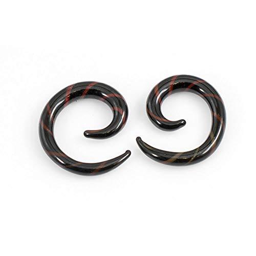 EG GIFTS Schwarz-rote Glaskegel Streifen Spirale Set von 2 (8g (3,2mm)
